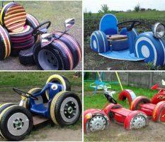 Настоящие шедевры из автомобильных шин