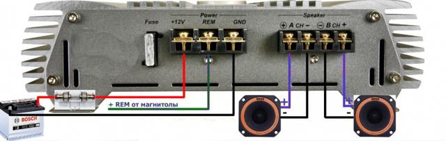 Как подключить усилитель в машине? К магнитоле, схема для 2 и 4-х канальных