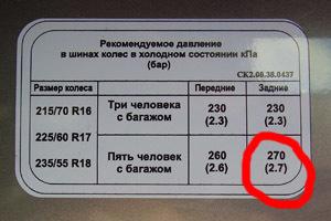 Давление в шинах автомобиля — таблица внизу текста